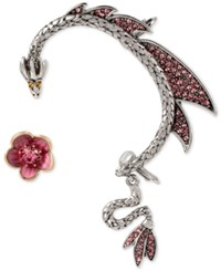 Betsey Johnson Two Tone Flower Stud And Pave Dragon Ear Cuff Set Pink