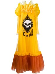 Viktor And Rolf Go To Hell Printed Tulle Gown Yellow