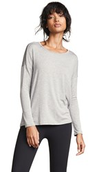Beyond Yoga Draw The Line Tie Back Pullover Light Heather Gray