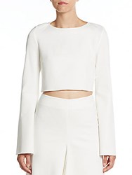 Nicholas Bell Sleeve Ponte Crop Top White