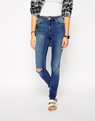 Asos Ridley Skinny Jeans In Melbourne Mid Wash With Ripped Knees Midwash