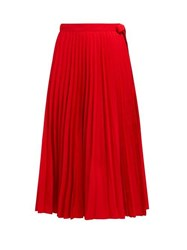 Valentino Pleated Cotton Blend Wrap Skirt Red