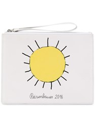Christopher Kane Printed Sun Clutch Women Cotton Calf Leather One Size White