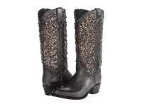 Frye Deborah Studded Tall Anthracite Glazed Vintage Leather Cowboy Boots Gray