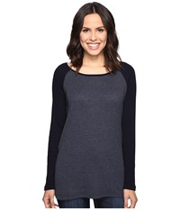 Allen Allen Long Sleeve Raglan Tunic W Contrast Sleeves Navy Women's Blouse
