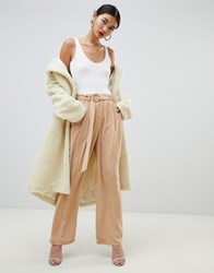 Na Kd Wide Leg Trousers With Tie Waist In Camel Brown