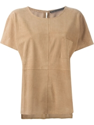 Anne Vest 'Tia' Perforated T Shirt Nude And Neutrals