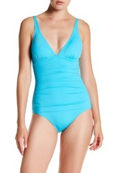 Tommy Bahama Ruched Triangle Top One Piece Swimsuit Blue