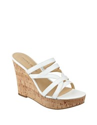 Ivanka Trump Howen Wedge Platform Leather Slide Sandals White