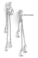Women's Cz By Kenneth Jay Lane Baguette Fringe Cubic Zirconia Drop Earrings
