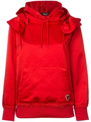 Undercover Frilled Shoulder Satin Hoodie Red