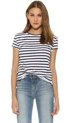 Generation Love Mackenzie Striped Holes Tee White Navy