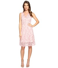 Adrianna Papell Nautilus Ombre Lace Fit And Flare V Neckline Dress Red Whisper Pink Women's Dress