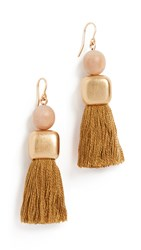 Madewell Wood Bead And Tassel Earrings Egyptian Gold