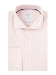 Smyth And Gibson Men's Slim Fit Gingham Non Iron Poplin Shirt Pink