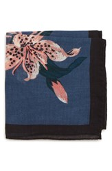 Bonobos Floral Wool Pocket Square Floral Blue Jay
