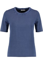 See By Chloe Braided Cotton T Shirt Storm Blue