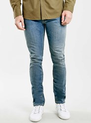 Topman Light Wash Stretch Slim Jeans Blue