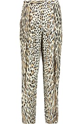 By Malene Birger Filianca Leopard Print Crepe Tapered Pants Animal Print
