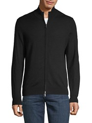 Saks Fifth Avenue Black Full Zip Wool Sweater Black1