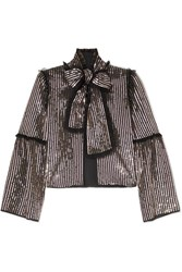 Needle And Thread Pussy Bow Sequined Georgette Jacket Charcoal