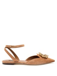 Dolce And Gabbana Belluci Point Toe Suede Flats Tan