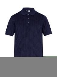 Brioni Checked Cotton And Silk Blend Polo Shirt Navy