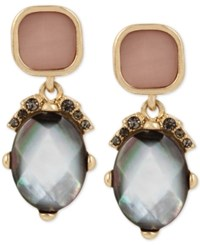 Kenneth Cole New York Gold Tone Colored Shell And Stone Drop Earrings