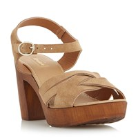 Dune Jani Criss Cross Wooden Block Sandals Taupe
