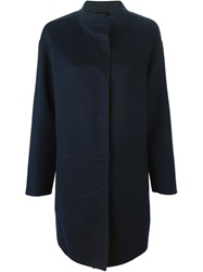 Piazza Sempione Band Collar Single Breasted Coat Blue