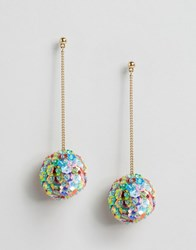 Asos Sequin Flower Pom Drop Earrings Purple