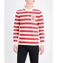 Kent And Curwen Striped Cotton Polo Shirt Dusty Red Ecru