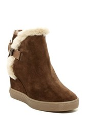 Aquatalia By Marvin K Cameron Faux Fur Trim Wedge Bootie Brown