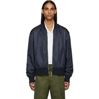 Thom Browne Navy Ripstop Center Back Stripe Bomber Jacket