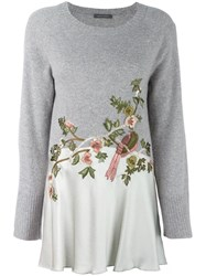 Alberta Ferretti Bird Embroidered Jumper Grey