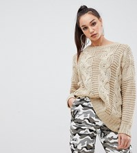 Missguided Tall Cable Knit Jumper Brown