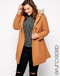 Asos Curve Ultimate Hooded Duffle Coat Tobacco