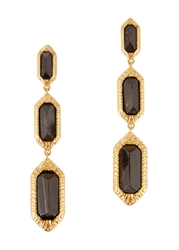 Isharya 18Kt Gold Plated Obsidian Drop Earrings