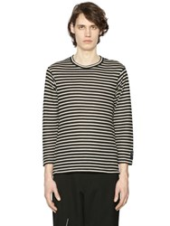 Yohji Yamamoto Striped Wool Jersey Long Sleeve T Shirt