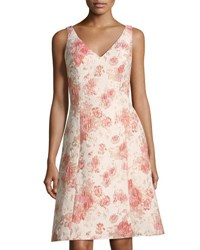 Aidan Mattox V Neck Brocade A Line Dress Pink Pattern