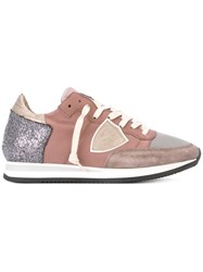 Philippe Model Tonal Panelled Sneakers Pink And Purple