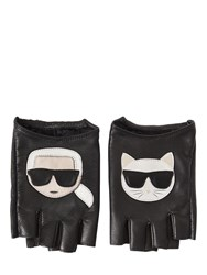 Karl Lagerfeld K Ikonik Fingerless Leather Gloves Black