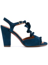 Chie Mihara T Bar Sandals Women Leather Suede Rubber 36 Blue