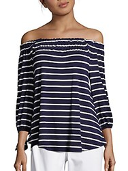 Cable And Gauge Off The Shoulder Striped Top Blue White Stripe