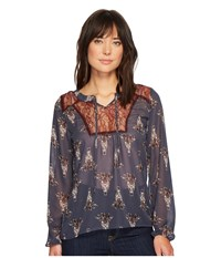 Cruel Embroidered Peasant Sleeve Blouse Navy Women's Clothing