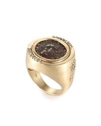 Coomi Antiquity 20K Two Sided Coin Ring With Diamonds