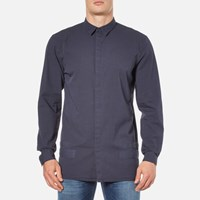 Helmut Lang Men's Canvas Long Sleeve Shirt Peacoat Blue