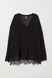Handm H M Fine Knit Sweater With Lace Black