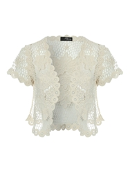 Jane Norman Flower Crochet Shrug Cream