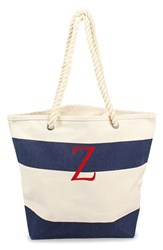 Cathy's Concepts Personalized Stripe Canvas Tote Blue Navy Z